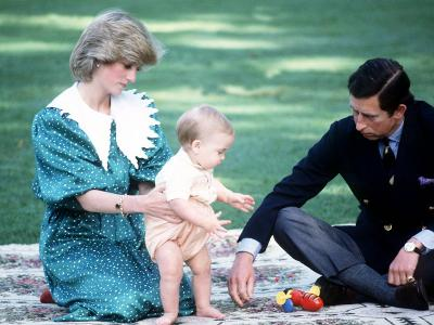 Prince Charles and Princess Diana in New Zealand with Prince William April 1983