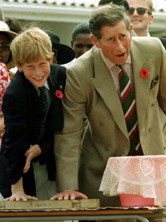 Prince Charles with Son Prince Harry Leaving Hand Prints in Concrete During Tour in South Africa