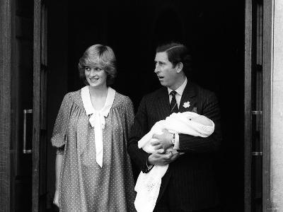 Prince Charles Holds Baby Son William Leaving Hospital with Princess Diana
