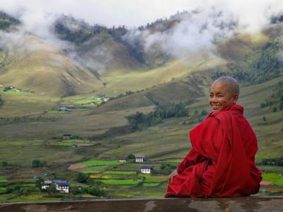Monk and Farmlands in the Phobjikha Valley, Gangtey Village, Bhutan