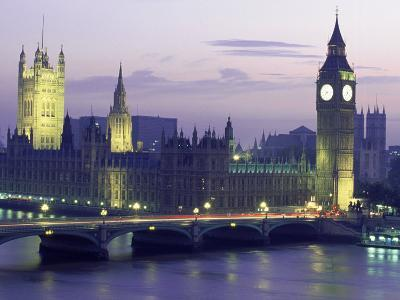 Houses of Parliament at Night, London, England