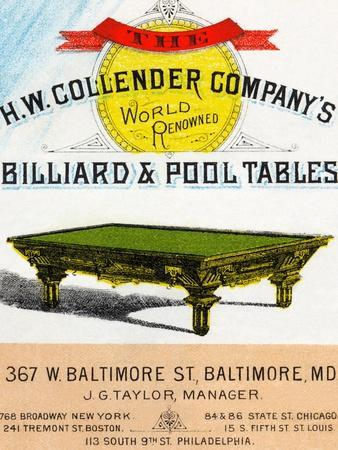 The H.W. Collender Company's World Renown Billiard and Pool Tables