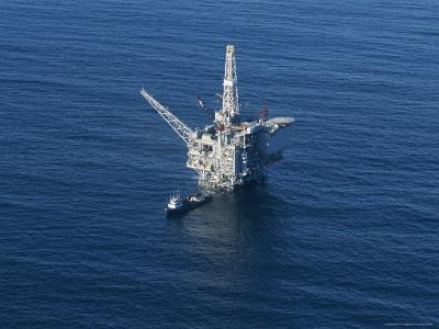 Aerial View of an Oil Rig in the Santa Barbara Channel