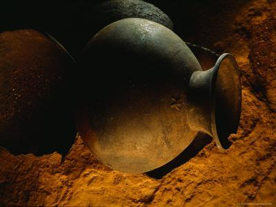 Mayan Pot in Cave in Belize is Decorated with a Monkey
