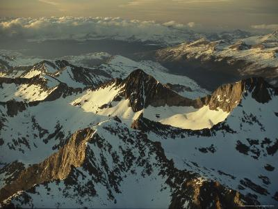 Aerial View of Snow-Covered Mountains in the Sierra Nevadas