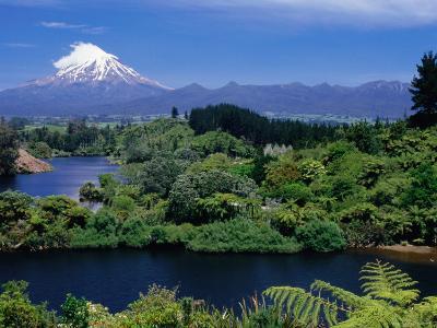 Mt. Taranaki from Lake Mangamahoe, Near New Plymouth