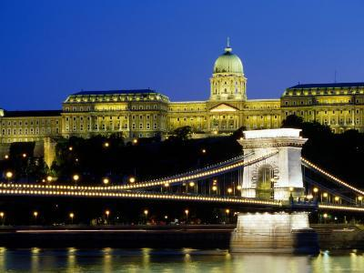 Royal Palace on Castle Hill at Night with Chain Bridge Below, Buda