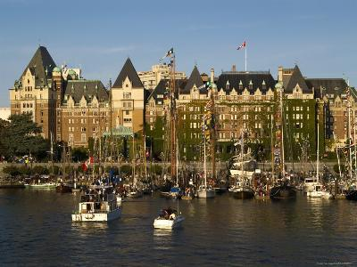 Tall Ships Anchored in Harbour, Empress Hotel in Background