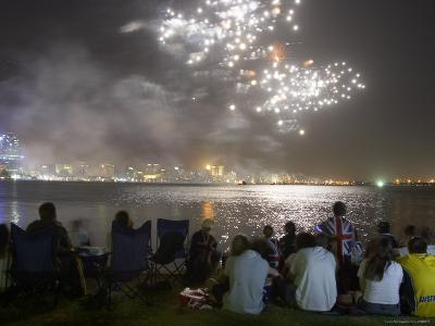 Australia Day Fireworks over Swan River with Perth City in Background