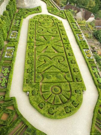 Overhead of English Style Garden from Tower of Brittany, Chateau De Hautefort