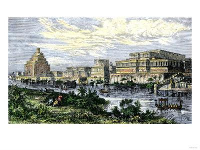 Assyrian Royal Palace at Nineveh on the Tigris River, before its Destruction in 612 Bc