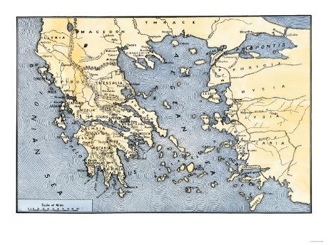 photograph relating to Printable Map of Ancient Greece titled Map of Historic Greece and its Colonies