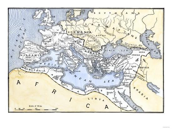 Map Showing The Extent Of The Roman Empire Giclee Print At