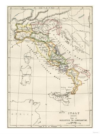 Map of Italy, During the Time of Caesar Augustus to Emperor Constantine