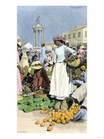 Native Woman Shopping in a Farmer's Market, Jamaica, c.1890