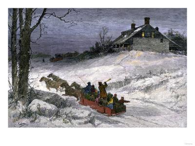 Neighbors Celebrating Christmas Eve with a Sleigh Ride, 1800s