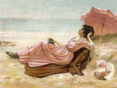 Young Woman Relaxing on the Beach, 1890s