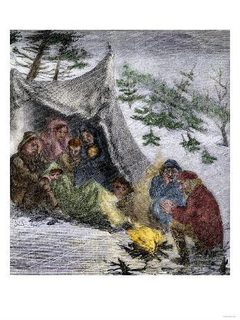 Donner Party Stranded by a Blizzard in the Sierra Nevada Mountains, 1846