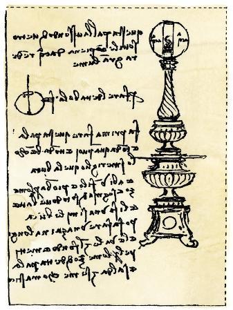 Leonardo Da Vinci's Backward Handwriting on His Design for a Lamp Using a Globe Filled with Water