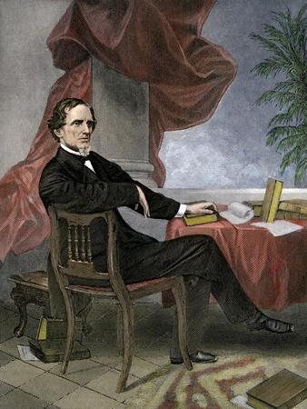 Jefferson Davis, President of the Confederate States of America, at His Desk