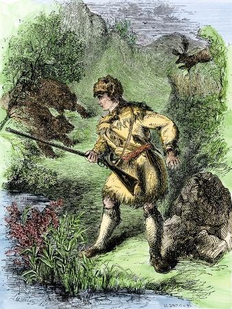 Davy Crockett Facing Grizzly Bears
