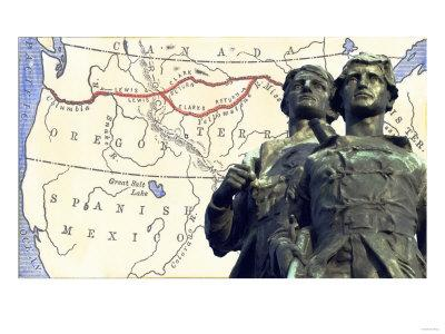 Meriwether Lewis and William Clark with a Map of their Expedition across Louisiana Territory