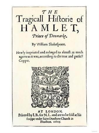 Title Page of the 1605 Hamlet by William Shakespeare