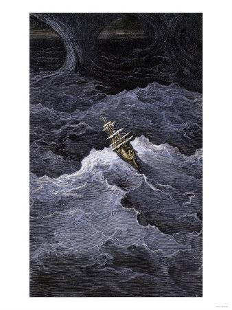 Ship in Stormy Seas from Coleridge's Rime of the Ancient Marine