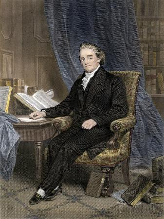 Noah Webster, American Lexicographer, Surrounded by Books