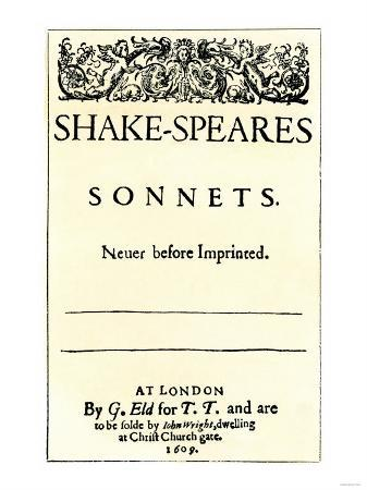 Title Page of Shakespeare's Sonnets