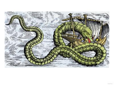 Ship Attacked by a Sea Serpent in the Sea of Darkness