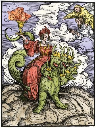 Whore of Babylon Riding the Seven-Headed Dragon