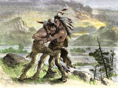 Hiawatha Locked in Combat with Another Native American Warrior