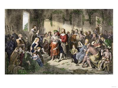 Marriage of Pocahontas to John Rolfe, Jamestown Colony, 1614