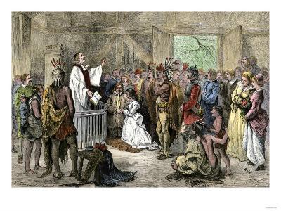 Pocahontas' Marriage to John Rolfe in Jamestown, Virginia, 1614