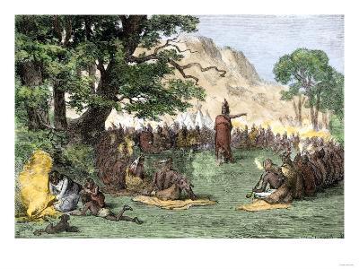 Chief Pontiac Addressing a Gathering of Native Americans