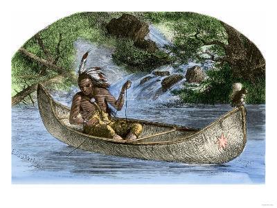 Hiawatha Fishing from a Canoe