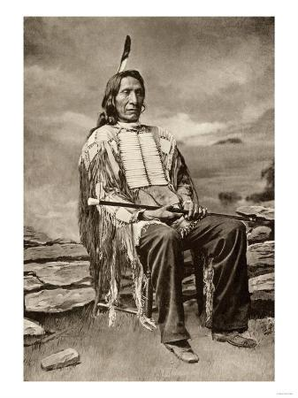 Red Cloud, or Mahpiua Luta, Oglala Sioux Chief, in Quilwork Shirt, 1890s