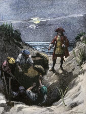Captain Kidd Burying His Pirate Treasure on Gardiner's Island, New York Harbor