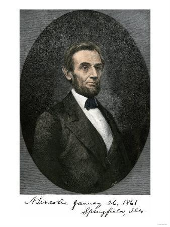 Abraham Lincoln in Springfield, Illinois in 1861, with His Autograph