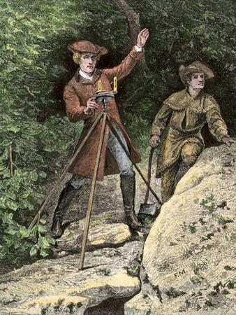 Young George Washington Working as a Surveyor in Virginia