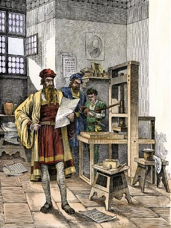 Gutenberg and Fust with the First Printing Press, Germany, 1450s