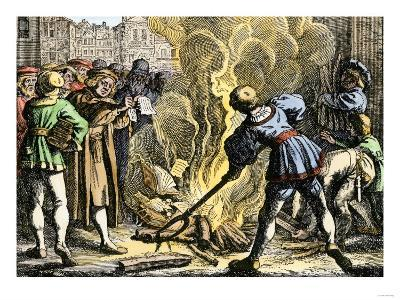 Martin Luther in Wittenberg Burning Pope Leo X's Bull of Excommunication, 1521