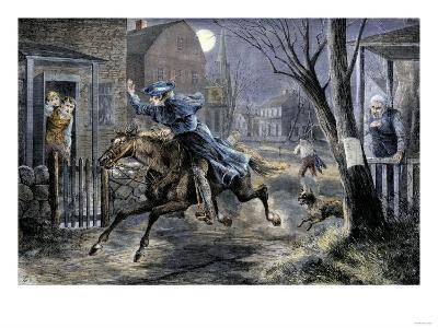 Paul Revere's Ride to Rouse Minutemen before the Battle of Lexington, April 19, 1775