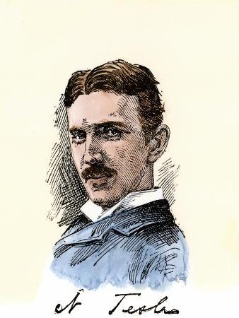 Inventor Nikola Tesla, with His Signature