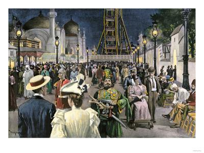 Columbian Exposition Visitors Strolling Along the Midway at Night, Chicago 1893