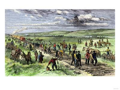 Immigrants and Other Workers Laying Track for the Transcontinental Railroad across Nebraska, 1860s