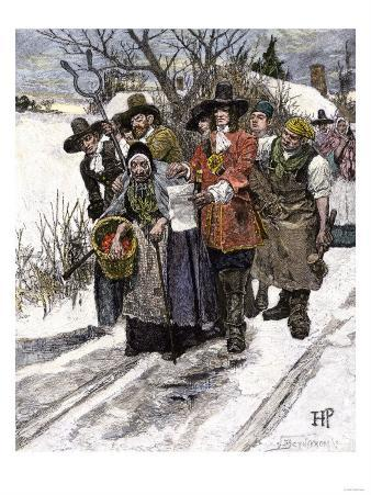 New England Puritans Arresting an Old Woman Accused of Witchcraft, 1600s