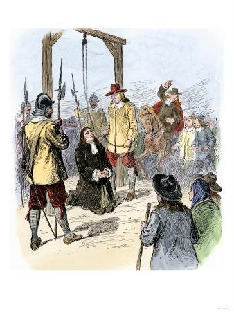 Execution of Reverend Burroughs of Wells, Maine, for Witchcraft, Salem, 1692