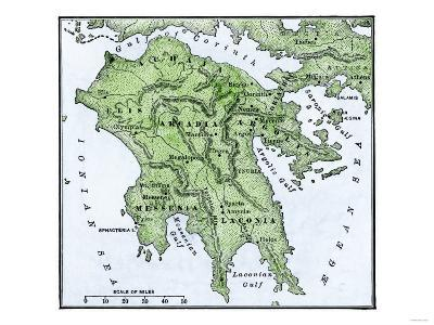 Map of the Peloponnesus of Ancient Greece